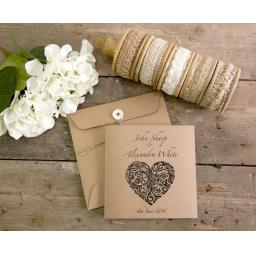 Vintage Heart Collection - Square FOLDED wedding Invitation x 25
