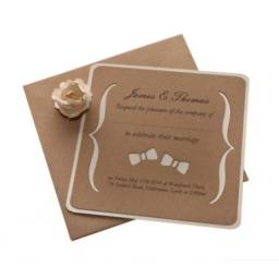 BOW TIE - Brown kraft & Cream Square card Wedding Invitations