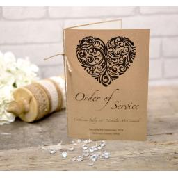 Vintage Heart Collection - Order of Service Booklet x 25