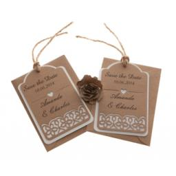 Brown kraft card (on white card) save the date luggage tags FLORAL CUT x 25
