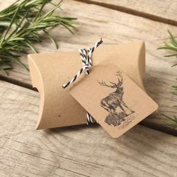 Vintage Stag rectangular tags, pillow boxes and twine x 25