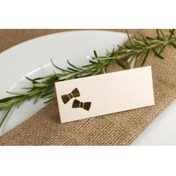 Place cards -Bow tie x 50 vintage cream fleck