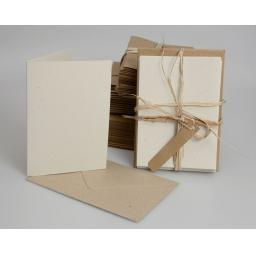 Vintage Cream Fleck Folded Cards with Brown Envelopes (A6) pack of 50