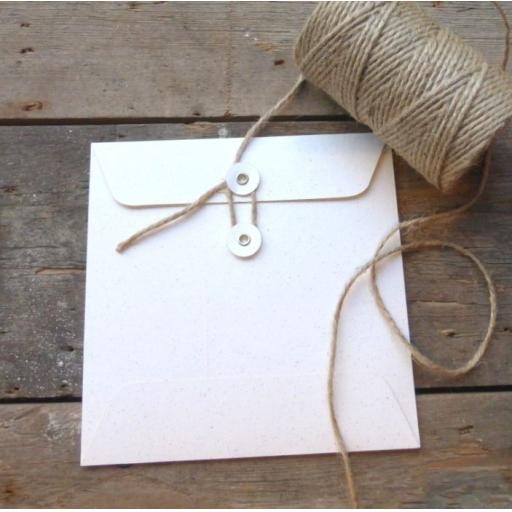 105MM Vintage white Fleck String Tie Envelopes x 25