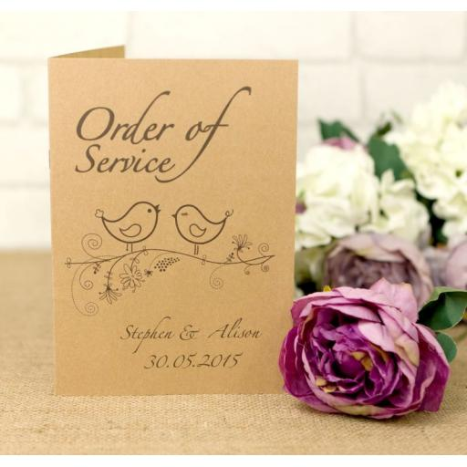 Vintage Bird Collection - Order of service booklets x 50
