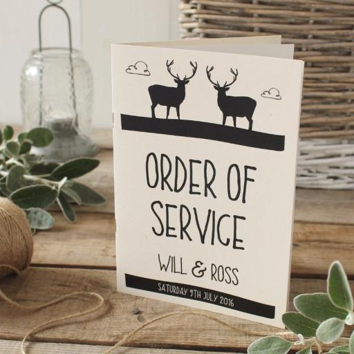 whimsicle stag Order of Service Booklets x 50