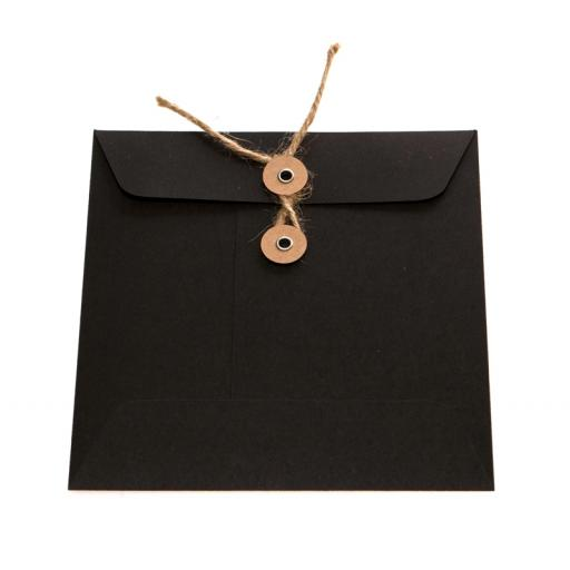 155mm Square BLACK String Tie Envelopes x 25