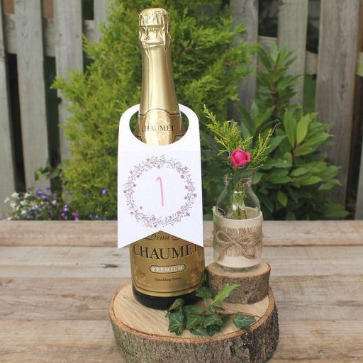 Floral Wreath PLUM Wine Bottle Table Numbers (A5) numbers 1 -10
