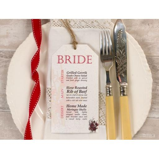 Botanical RED FLOWER Wedding Menu tags