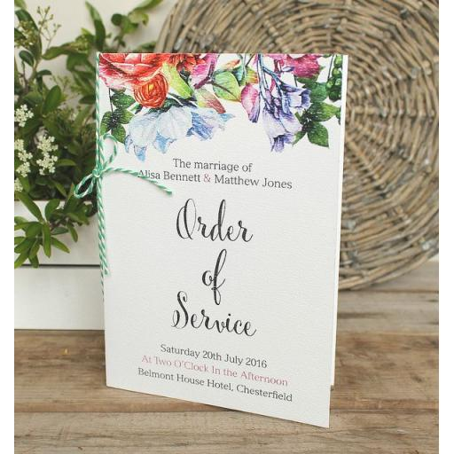 Botanical Blooms - Order of service booklets x 50