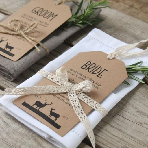 Whimsical Stag Menu Tags