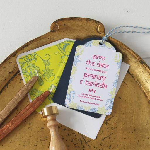 Darjeeling Save The Date luggage tags and Envelopes x 25