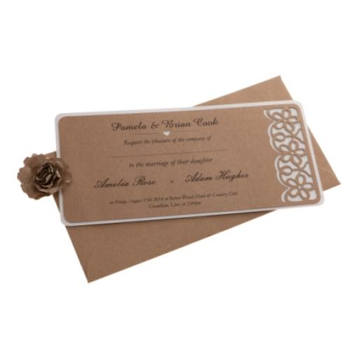 Brown kraft card ( on white )Wedding Invitations - FLORAL LASER CUT ( DL size) x 25