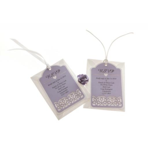 Pale Lilac on White Card RSVP luggage tags FLORAL CUT x 25