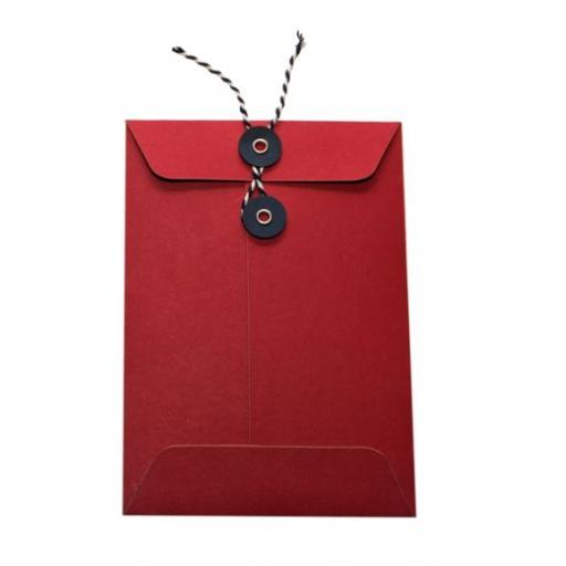 C6 RED String Tie Envelopes x 25