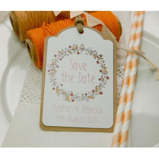 Floral Wreath Wedding PEACH and Brown Kraft Save the Date Luggage Tags and Envelopes x 25