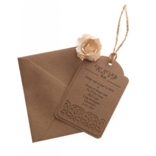 Brown kraft card RSVP luggage tags FLORAL CUT x 25