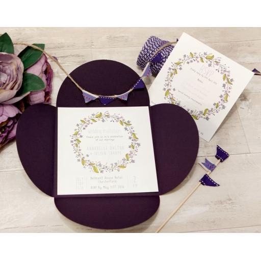 Floral Wreath PLUM invitations and petal wallet set - full set x 50