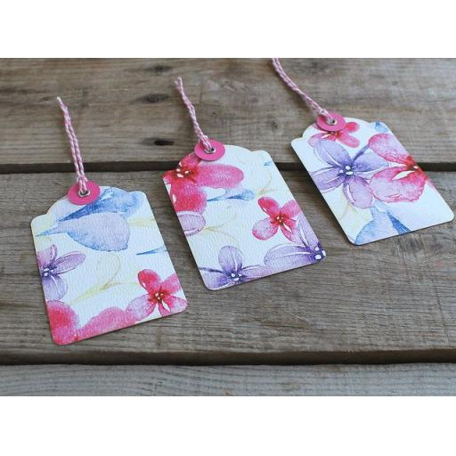 Watercolour pastel printed luggage tags x 10