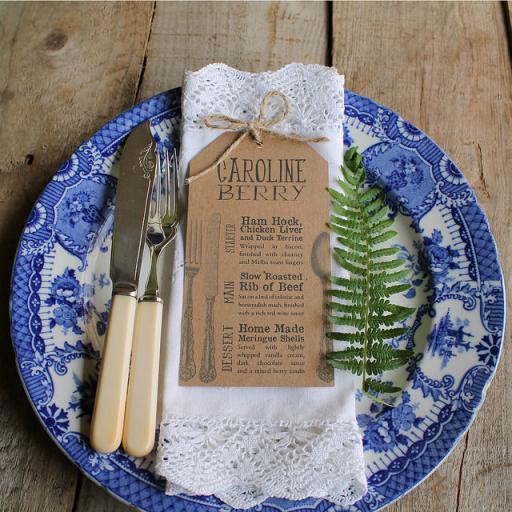 Personalised Cutlery MENU tags