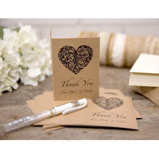 Vintage Heart Collection -PERSONALISED thank you cards with matching envelopes