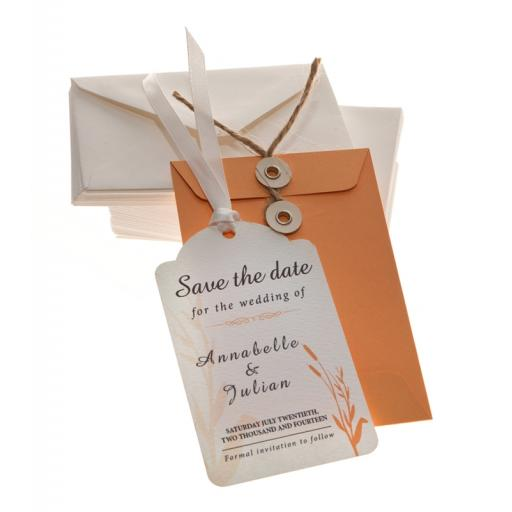 Peach Save the Date tags + Envelopes x 25 ( WHEATGRASS RANGE)