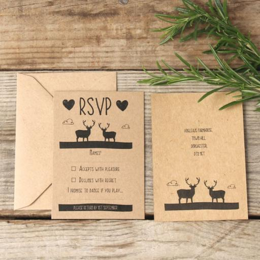 Whimsical Stag RSVP cards and envelopes x 25
