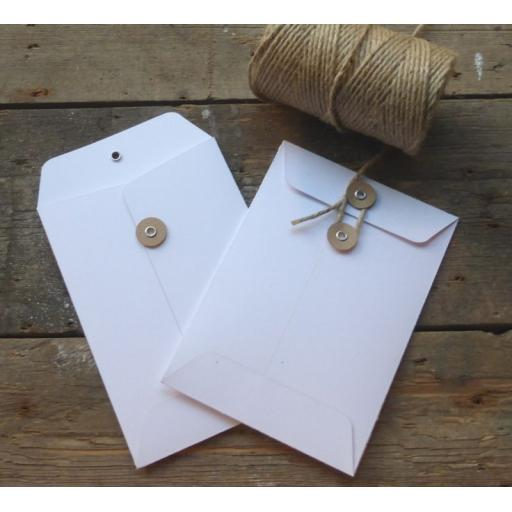 C6 WHITE card String Tie Envelopes x 25