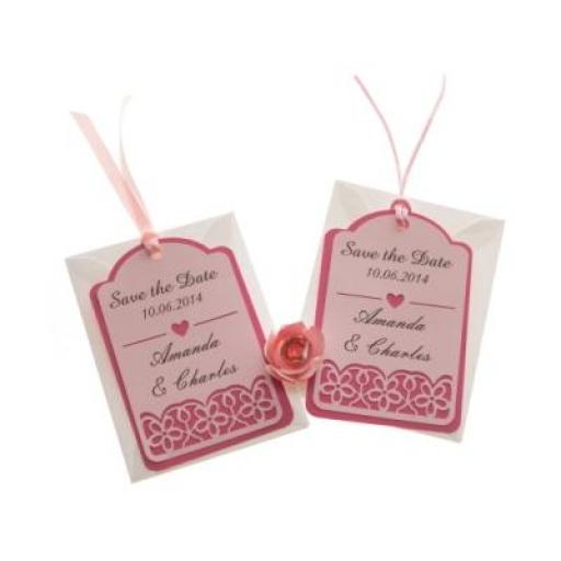 Pale Pink on Shocking Pink card save the date luggage tags FLORAL CUT x 25