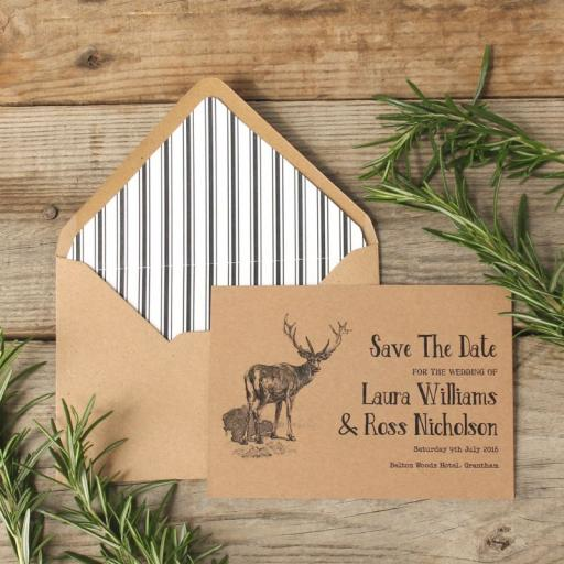 Vintage Stag Save the Date Invitations and lined envelopes x 20