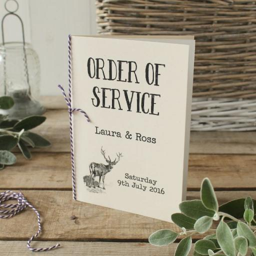 Vintage stag Order of Service Booklets x 50