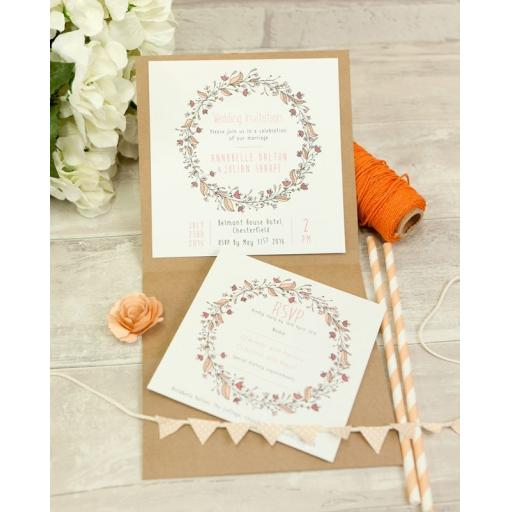 Floral Wreath Peach invitations and pocketfold set - full set x 50