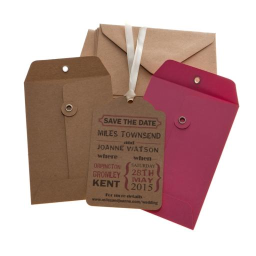 Cerise Pink & Brown Kraft Save the Date tags and Envelopes x 25 ( VINTAGE RANGE)