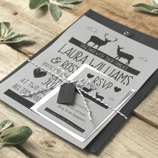Whimsical Stag Save the Date cards and envelopes x 25 (design 2)
