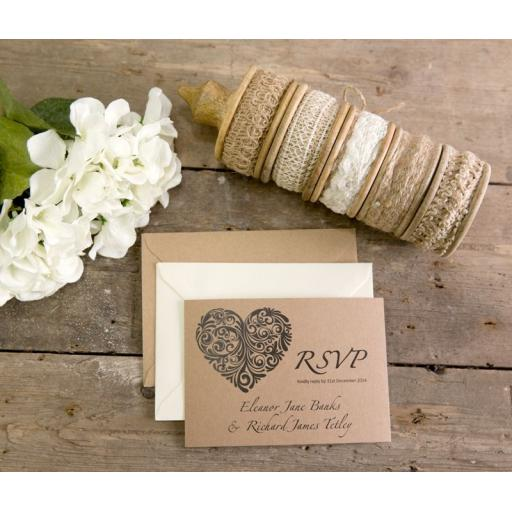 Vintage Heart Collection - RSVP cards x 25