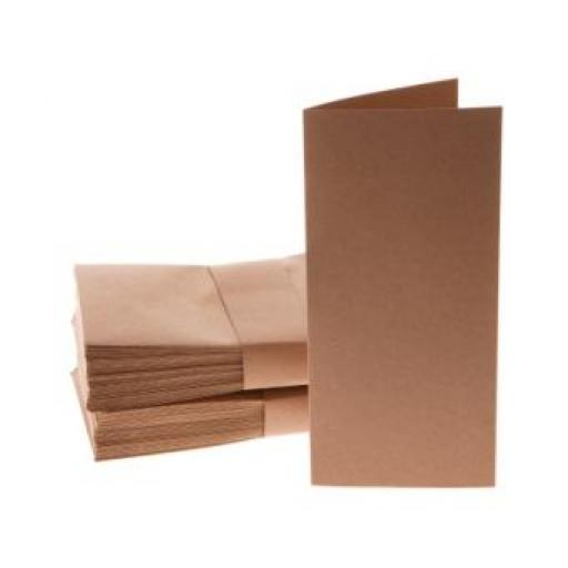 DL folded brown kraft cards with matching brown kraft envelopes