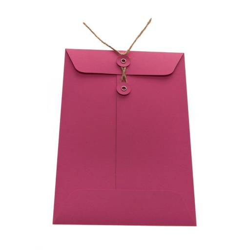 C7 Cerise Pink String Tie Envelopes x 25