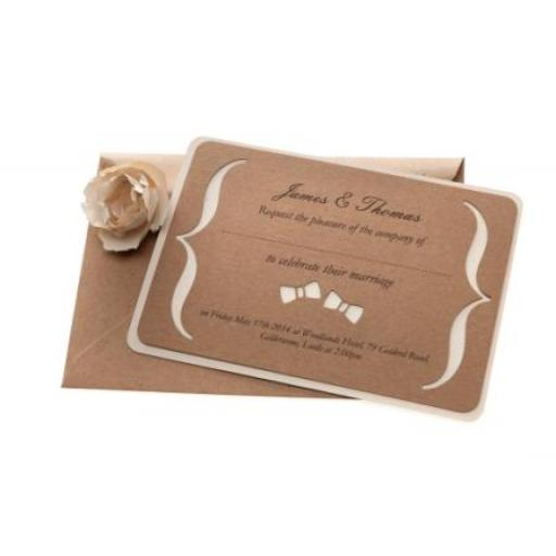 Bow Tie - Brown kraft A6 Wedding Invitations