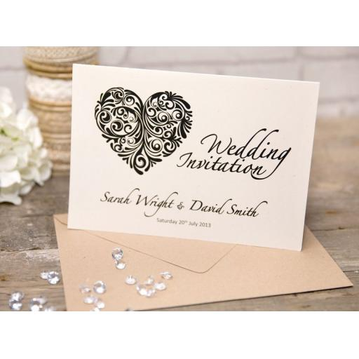 Vintage Heart Collection - A5 Folded Wedding Invitations