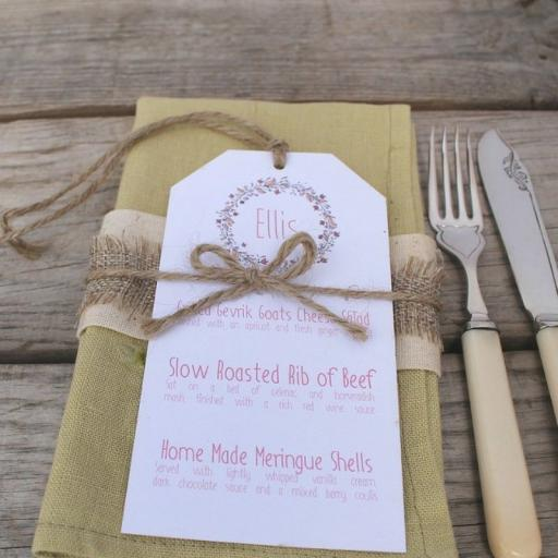 Floral Wreath - PEACH wedding menu tags
