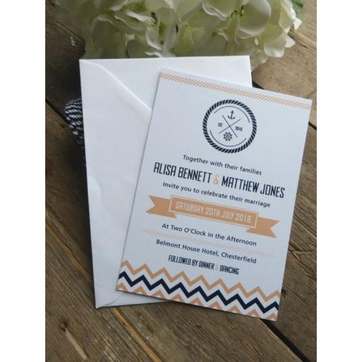 Chevron design - A6 invitations x 25