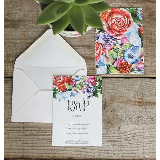 Botanical Blooms RSVP Cards and Envelopes x 25 (colour set 1)