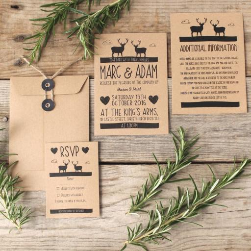 Whimsical Stag Invitations and string tie envelopes x 25