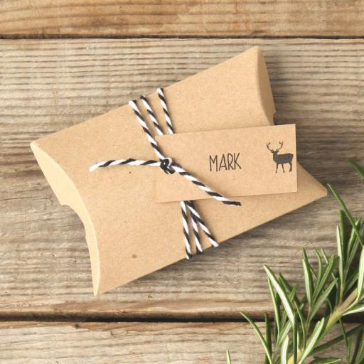 whimsical Stag rectangular tags, pillow boxes and twine (personalised brown) x 25