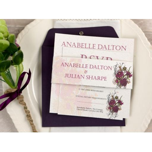 Botanical plum flower Wedding Invitation - full set x 25