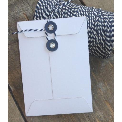 C7 WHITE card String Tie Envelopes x 25