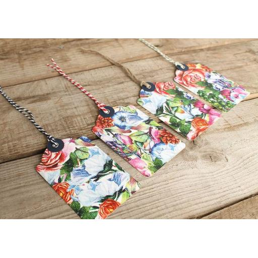 botanical blooms printed tags x 10