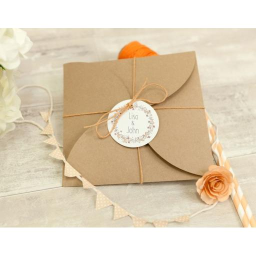 Floral Wreath PEACH personalised gift tags x 50