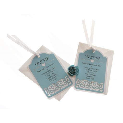 Pale Blue on White Card RSVP luggage tags FLORAL CUT x 25