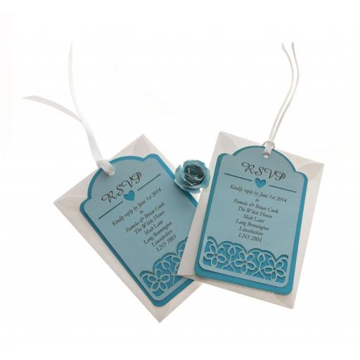Two Tone Blue RSVP luggage tags FLORAL CUT x 25